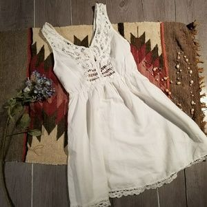 Mustard Seed Sz S  White Open Bow Back Dress
